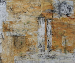 Charcoal And Ochre 1 - White Rock. 2010. SOLD.