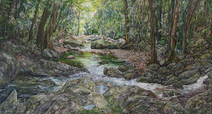 11am April, Meeting Of The Waters, Springbrook National Park. 2016. 83cm x 153cm. Oil on canvas. SOLD.