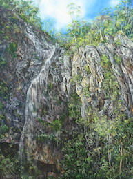 10am April, Ngarri-dhum Falls, Springbrook National Park. 2017. 102cm x 76cm. Oil on canvas. SOLD.