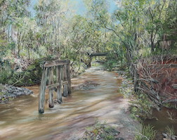 4pm November, Ugly Gully, Moggill Conservation Park. 2015. 84cm x 66cm. Oil on canvas. SOLD.