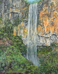 12pm April, Purling Brook Falls, Springbrook National Park. 2015. 92cm x 71cm. Oil on canvas. SOLD.
