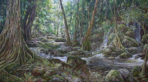 9:30am October, Meeting Of The Waters, Springbrook National Park. 2016. 83cm x 153cm. Oil on canvas. SOLD.