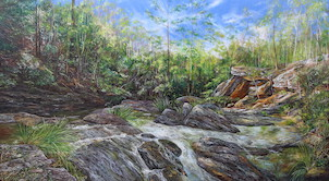J. C. Slaughter Falls, Mt Cootha Forest Park. 2015. 182cm x 91cm. Oil on canvas. SOLD.