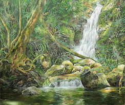 12pm April, Lower Bahnamboola Falls, Lamington National Park. 2017. 71cm x 84cm. Oil on canvas. SOLD.
